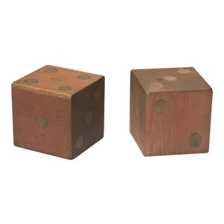 Large Wooden Handcrafted American Folk Art Dice - a Pair For Sale