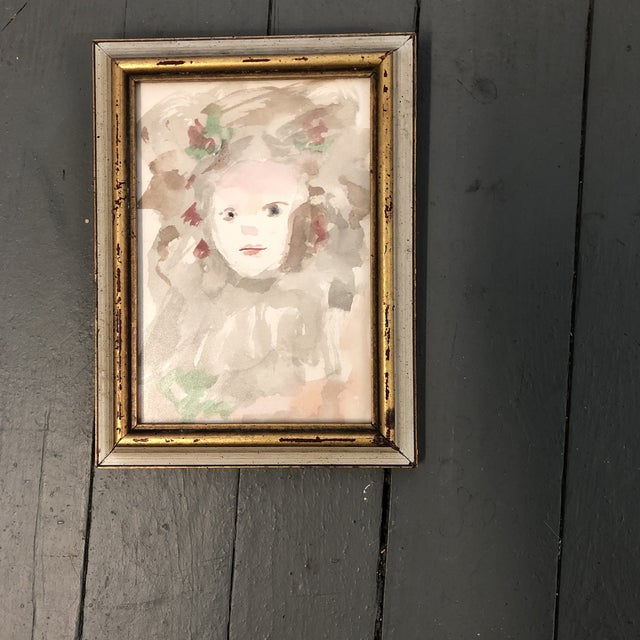 Original Impressionist Watercolor Child Portrait Painting Small For Sale - Image 4 of 4