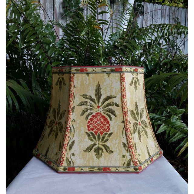 Vintage Pineapple Greeff Fabric Mustard Olive Green and Coral Lampshade For Sale - Image 11 of 11