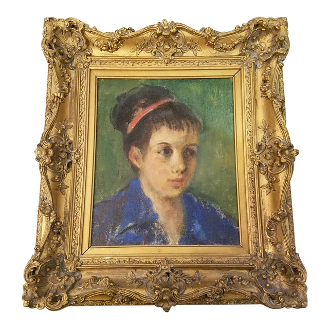 Original Mid-Century Young Lady Portrait Painting in a Carved French Gilt Frame - Image 1 of 5