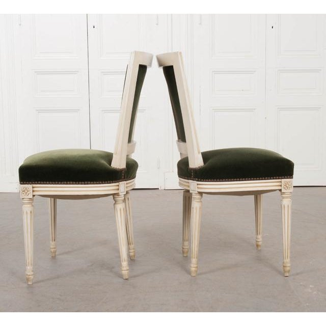 1950s French Vintage Louis XVI Painted Side Chairs - a Pair For Sale - Image 5 of 11