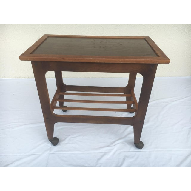 Small Mid-Century Modern Wooden Rolling Tray Table Cart For Sale - Image 12 of 12