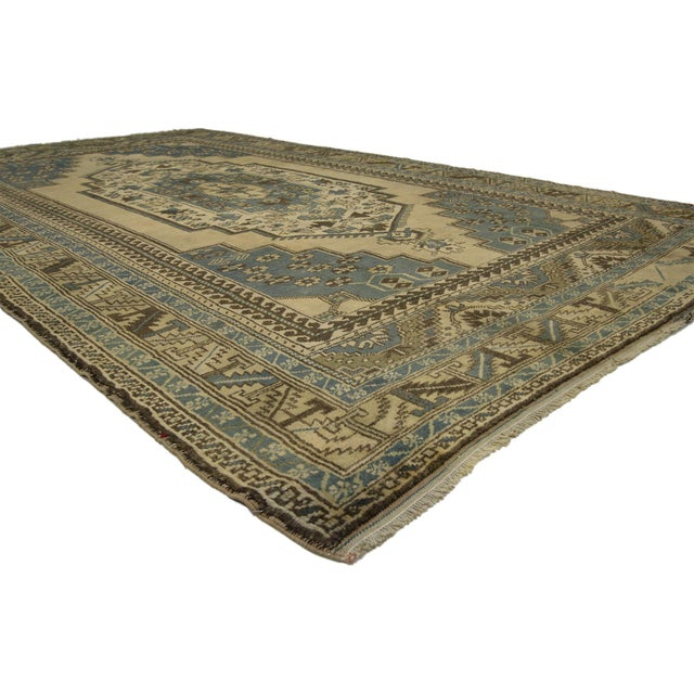 Tribal Vintage Turkish Oushak Rug with Tribal Elements - 05'10 X 10'02 For Sale - Image 3 of 6