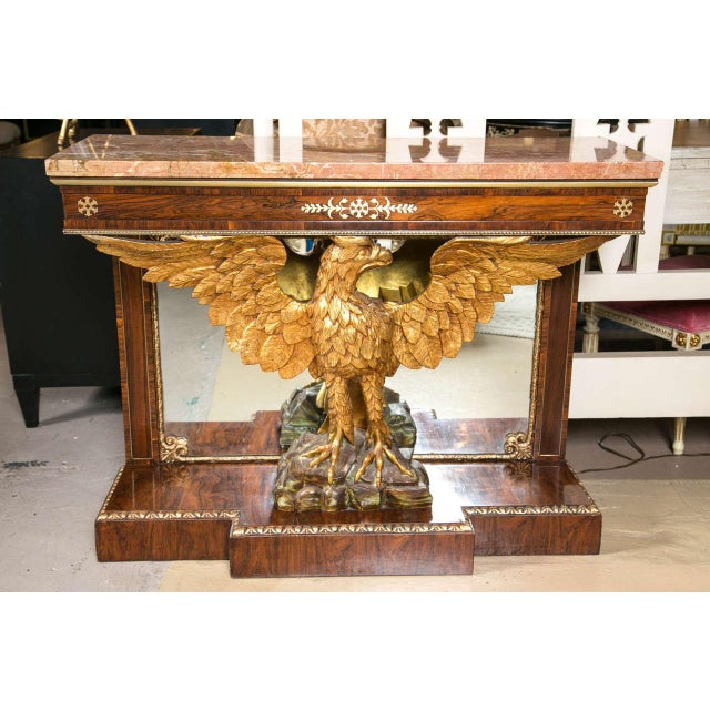 Pair of 19th Century Federal Style Gilt Opposing Eagle Console Tables. Simply the finest consoles of this style on the...