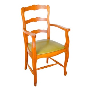 Vintage French Country Style Ladder Back Maple Armchair W/ Lime Green Leather Seat For Sale