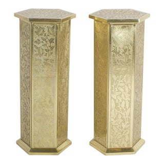 Anglo Indian or Moorish Brass Pedestals - A Pair For Sale