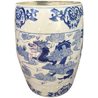 Large Chinoiserie Ceramic Garden Stool For Sale