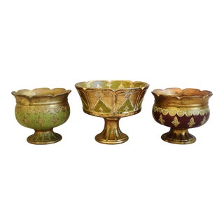 1950s Italian Hand-Decorated Terracotta Centerpiece Compotes - Set of 3 For Sale