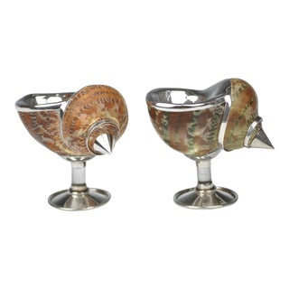 Vintage Sterling Silver Footed Turban Seashell Salt Cellar- a Pair For Sale