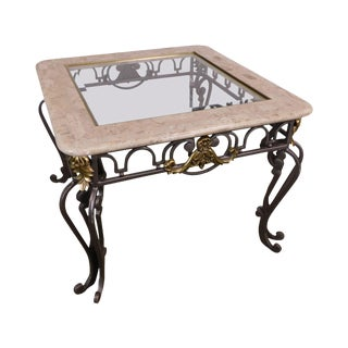 Maitland Smith Iron, Brass and Glass Side Table With Tessellated Marble For Sale