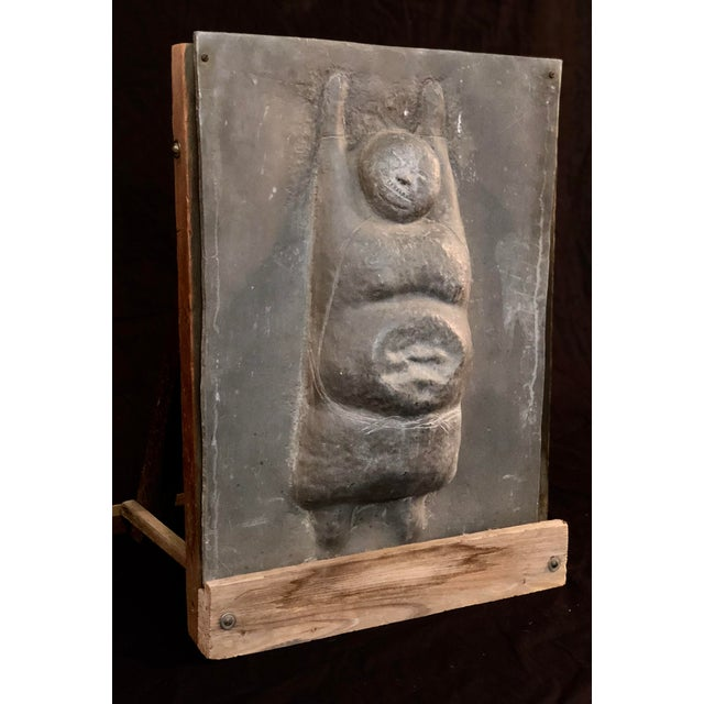 Figurative Figural Sculpture in Lead Attributed to Leonard Baskin For Sale - Image 3 of 10