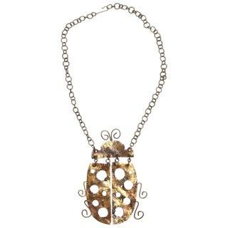 1960s Vintage Brutalist Ladybug Necklace For Sale