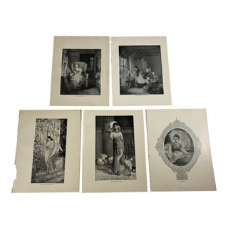1892 Antique English and Irish Early 19th Century Literature Prints - Set of 5 For Sale