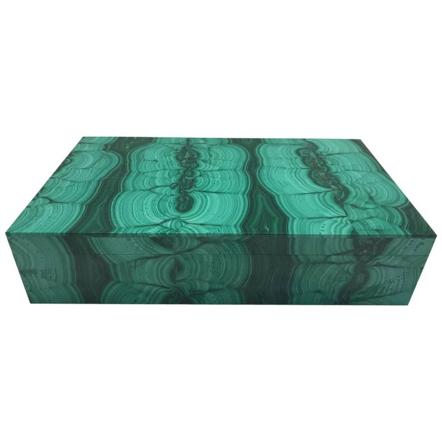 Very Large Malachite Box with Hinged Lid For Sale - Image 10 of 10
