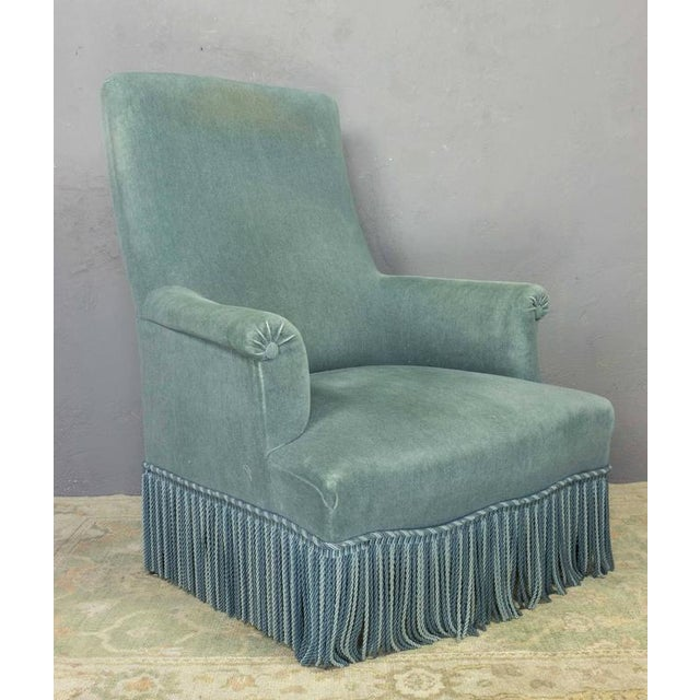 19th Century French Faded Blue Velvet Armchair - Image 3 of 11