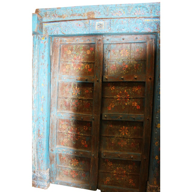 This is an amazing Elegant Royal Antique Indian doors with Frame are made  in extremely strong - Antique Doors Jaipur Distressed Blue Floral Indian Architecture 18c
