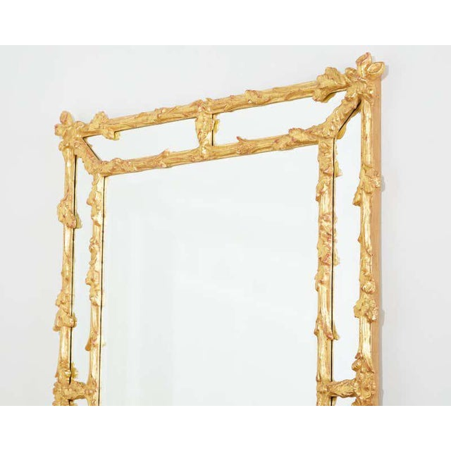 Late 20th Century Italian Carved Gilt Wood Faux Bois Cushion Mirror For Sale - Image 5 of 13