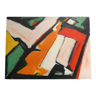 Vintage Mid-Century Abstract Original Painting For Sale