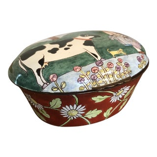 Handpainted Enamel Cow Box For Sale