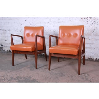 Jens Risom Mid-Century Modern Sculpted Walnut Lounge Chairs, Pair Preview