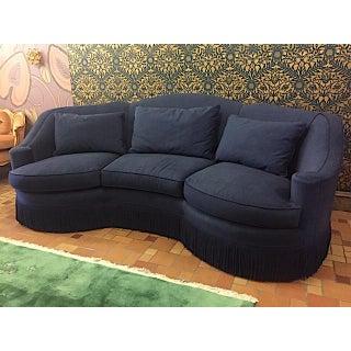 Navy Micro Velvet Vintage Custom Curved Backed Henredon Sofa With Bullion Trim Preview