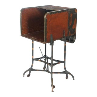 Early 20th C. Vintage Toledo Industrial Roll Top Bar Cart For Sale