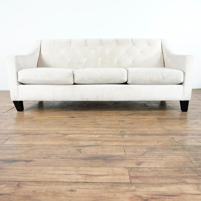 Textile Contemporary White Upholstered Button Tufted Sofa For Sale - Image 7 of 7