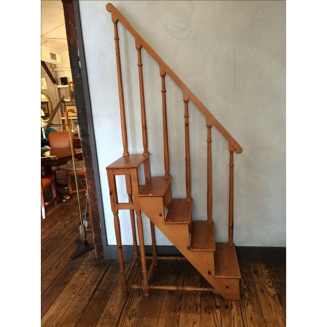 Tall Vintage Oak Library Steps - Image 2 of 6