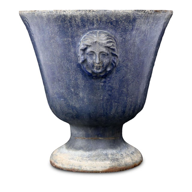 Late 19th Century Large Blue Enameled Rouen Urn For Sale - Image 5 of 9