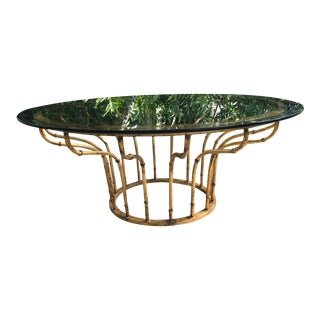 Boho Chic Gilt Faux Bamboo Circular Coffee Table For Sale