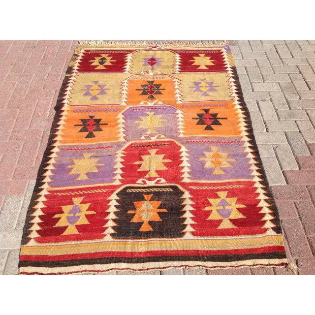 Vintage Turkish Kilim Rug - 4′2″ × 6′2″ - Image 2 of 6