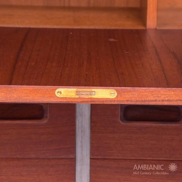 Danish Modern Cabinet with Hutch Teak For Sale - Image 5 of 8