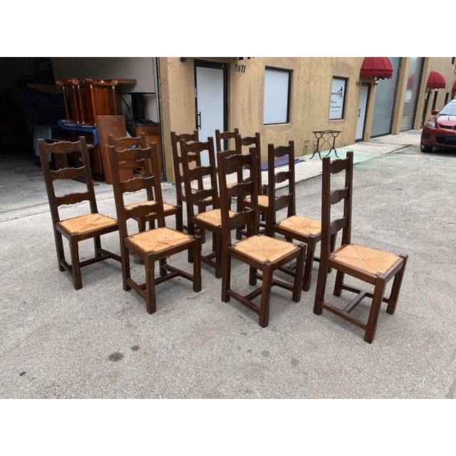 1910s French Louis Philippe Rush Seat Solid Walnut Dining Chairs - Set of 10 For Sale - Image 4 of 13