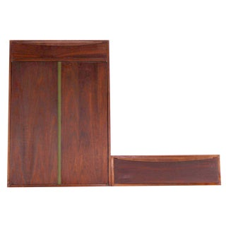 Hanging Walnut Side-By-Side Storage Cabinet and Vanity For Sale