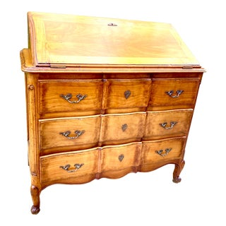 French Country Serpentine Front Tooled Leather Secretary Desk For Sale