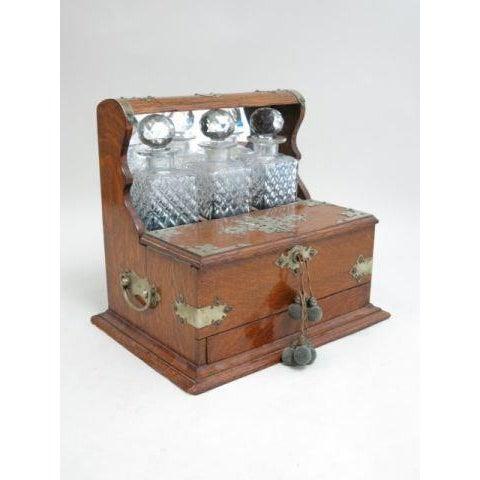 Victorian Oak Tantalus Set with 3 Crystal Bottles For Sale - Image 5 of 5
