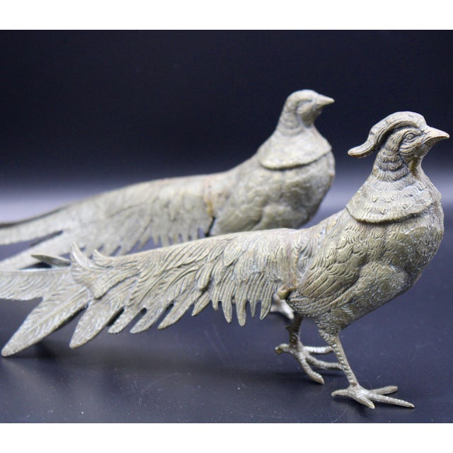 Mid 20th Century Large Italian Silver Plate Pheasant Figurines - a Pair For Sale - Image 5 of 13