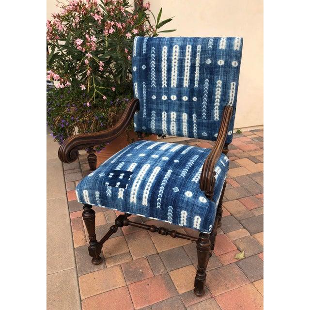 Antique Jacobean-Style Mahogany Mali Indigo Upholstered Armchair - Image 6 of 11