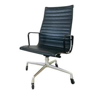 Vintage Very Rare Eames Aluminum Group Executive High Back Chair Faux Black Leather Black Arms Four Spoke Castor Base For Sale