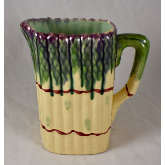 Ceramic Mid-Century French Barbotine Majolica Asparagus Pitcher For Sale - Image 7 of 7