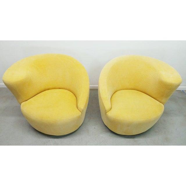 "Vladimir Kagan Post Modern Vladimir Kagan for Weiman Swivel ""Nautilus"" Corkscrew Club Chairs- A Pair For Sale - Image 4 of 13"