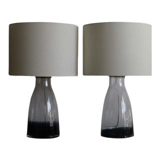 Alberto Dona Style Hand Blown Midnight Blue Murano Glass Table Lamps. For Sale