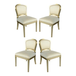 Silver Leaf Dining Chairs With Fluted Legs- Set of 4 For Sale