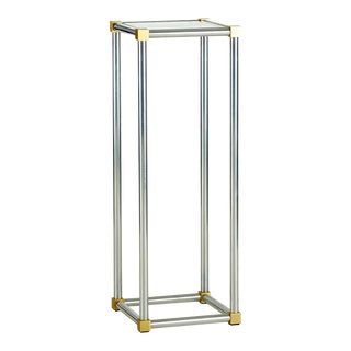 Modern Aluminum and Brass Side Table With Glass Insert For Sale