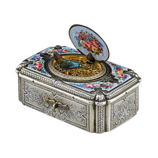 Silver and Enamel Fuseé Singing Bird Box by Charles Bruguier For Sale