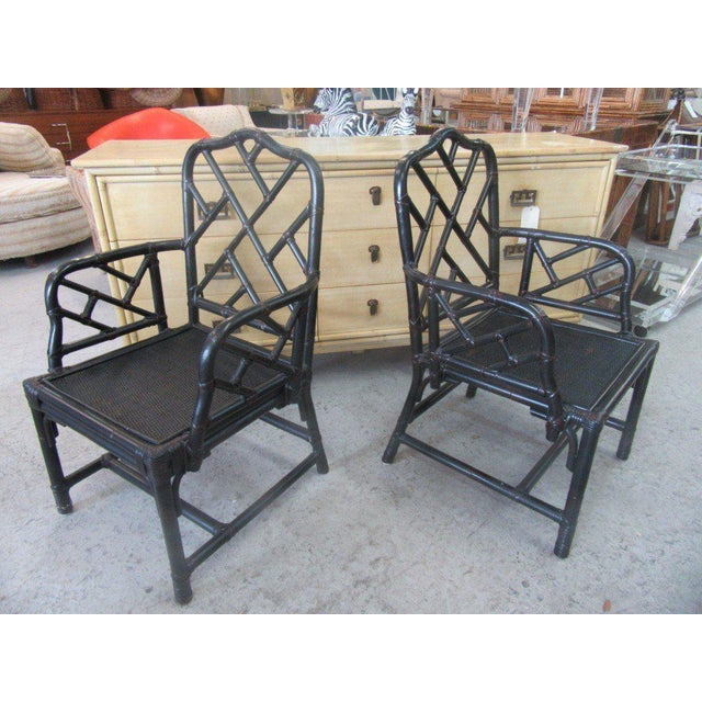 Rattan Chippendale Arm Chairs - a Pair - Image 3 of 6