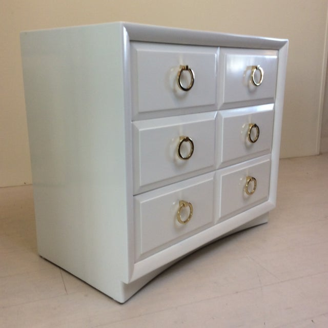 Hollywood Regency Robsjohn-Gibbings for Widdicomb White Dresser For Sale - Image 3 of 10