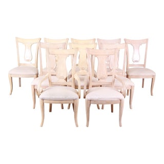 Bernhardt Mediterranean Style Harp Back Dining Chairs, Set of Ten For Sale