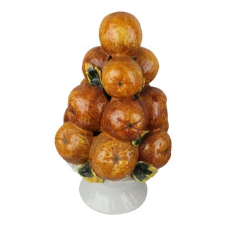 Vintage Mid-Century Italian Orange Fruit Centerpiece Topiary For Sale