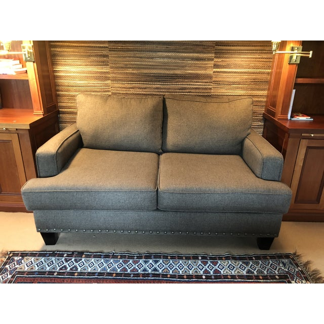 Upholstered Custom Loveseat Sofa With Large Brass Nailheads For Sale - Image 9 of 9